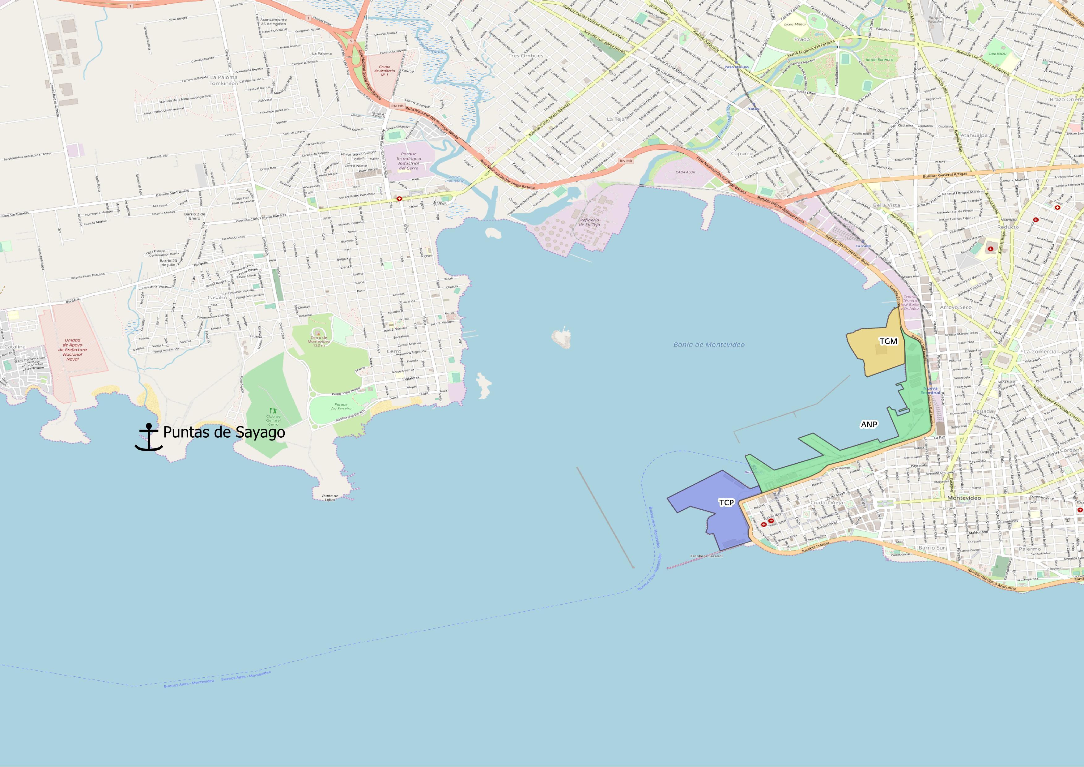 puntas de sayago y terminales de Montevideo